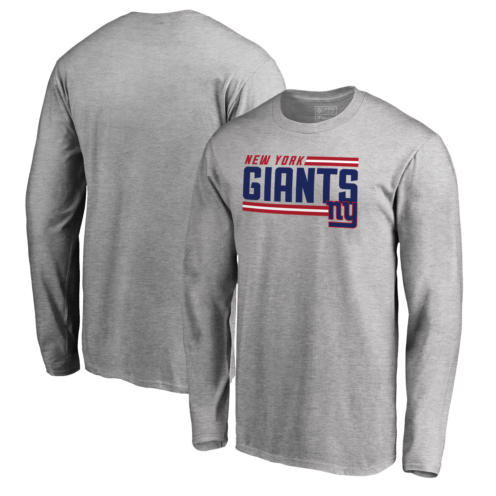 New York Giants NFL Pro Line by Fanatics Branded Iconic Collection On Side Stripe Long Sleeve T-Shirt - Ash