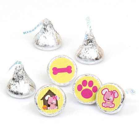 Girl Puppy Dog - Party Round Candy Sticker Favors Labels Fit Hershey's Kisses (1 sheet of - Party Puppy