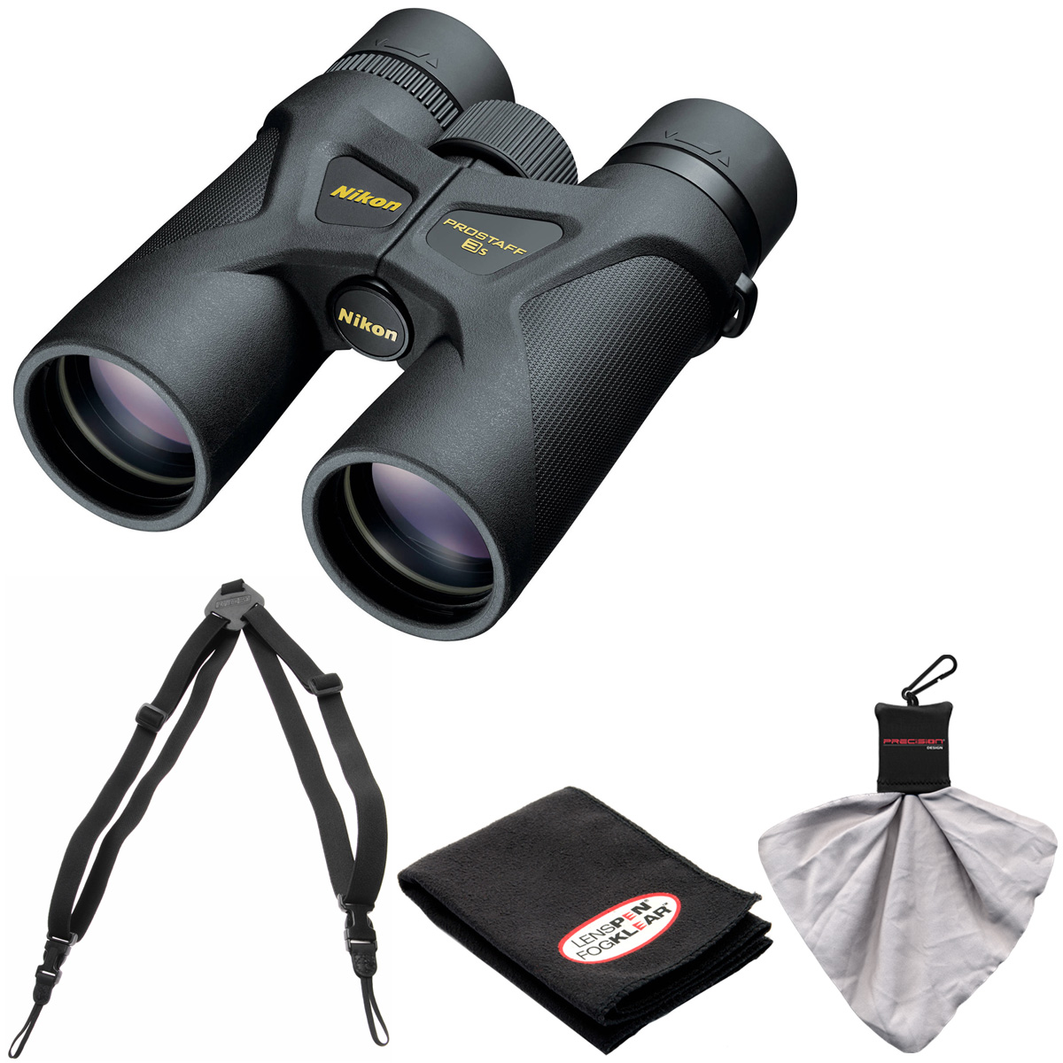 Nikon Prostaff 3S 8x42 Waterproof/Fogproof Binoculars with Case + Easy Carry Harness + Cleaning Cloth Kit