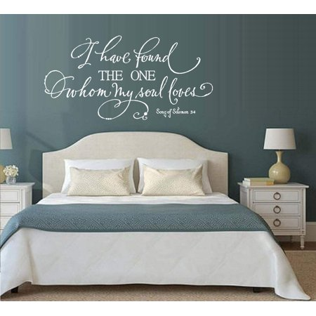 I Have found the one Whom my Soul Loves: Song of Solomon 3:4 Wall Decal (White, 20