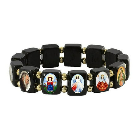 Wood Religious Bracelets (Black Saints & Religious Icons Stretch Elastic Bracelet  Wood Beads, 2.5)
