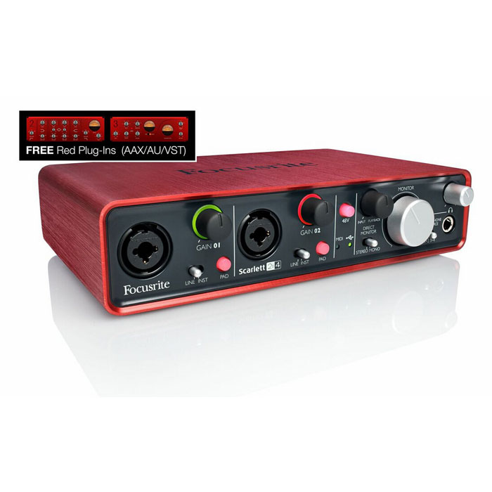 Focusrite Scarlett 2i4 USB 2.0 Audio Interface with Red Plug-ins