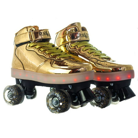Chicago Pulse Multi Flashing Quad Skate, Gold, Size 3 - Gold Roller Skates
