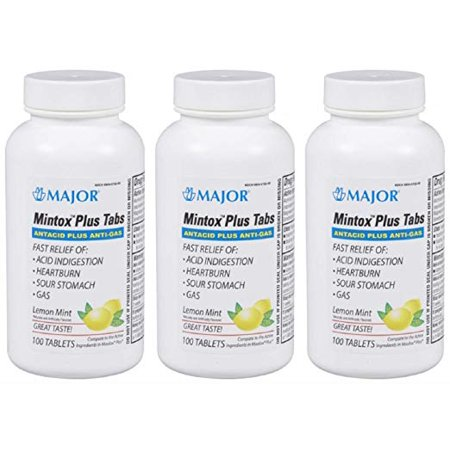 MAJOR MINTOX Plus TAB Aluminum HYDROXIDE-200 MG Yellow 100 Tablets  (3 Pack)
