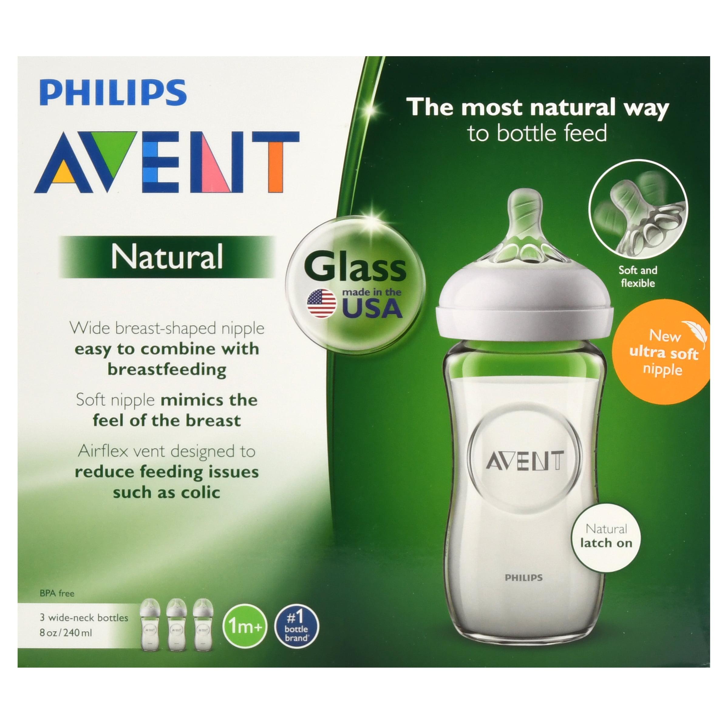 Philips Avent 3pk Natural Glass Baby Bottle 8oz