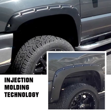 Injection Moulding Pocket Rivet Style Impact-resistance Polypropylene Fender Flares Custom Fit 2003-2006 Chevrolet Silverado (Also Fits 07 Classic