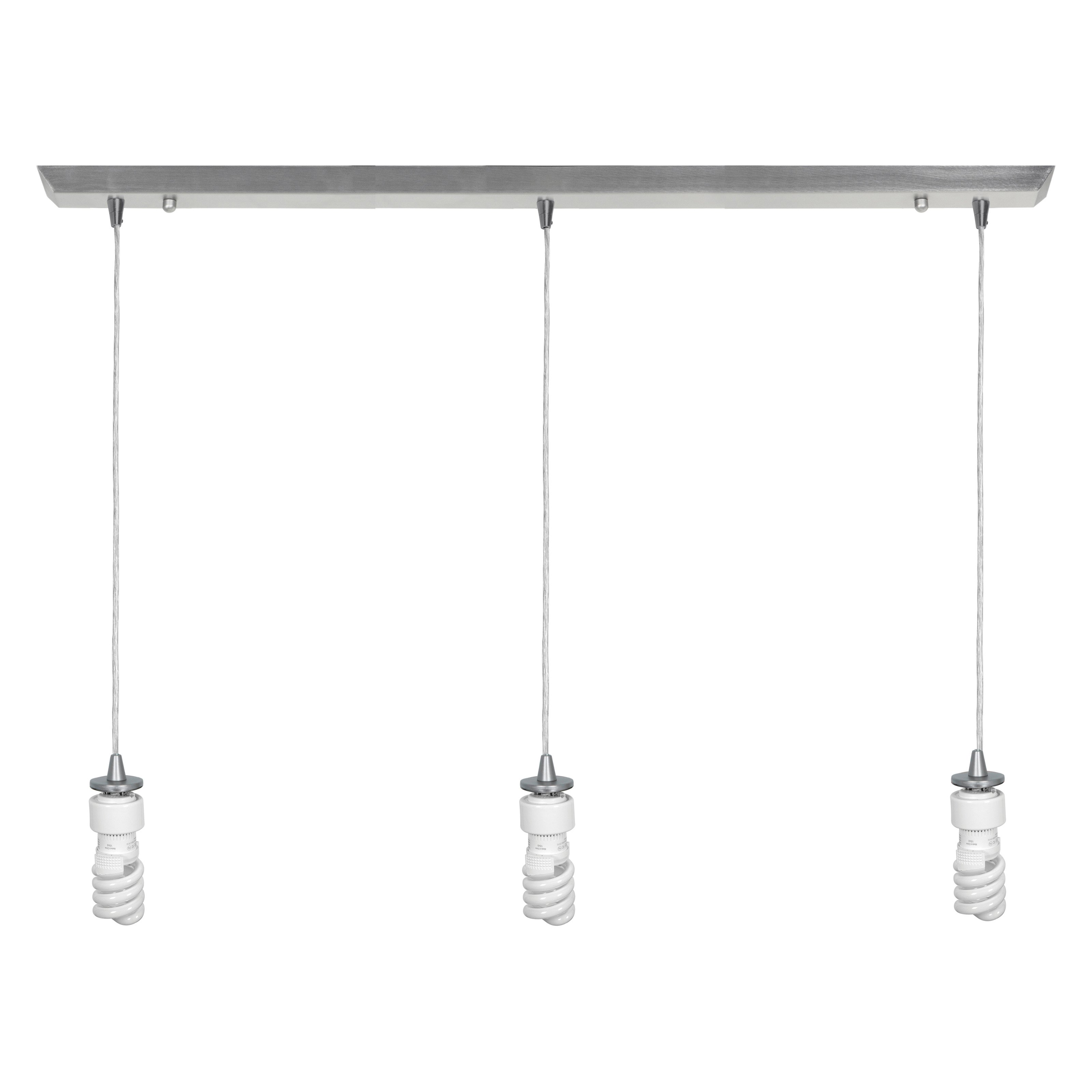 Brushed Steel Three Light Energy Star Bar Pendant Assembly From Trinity