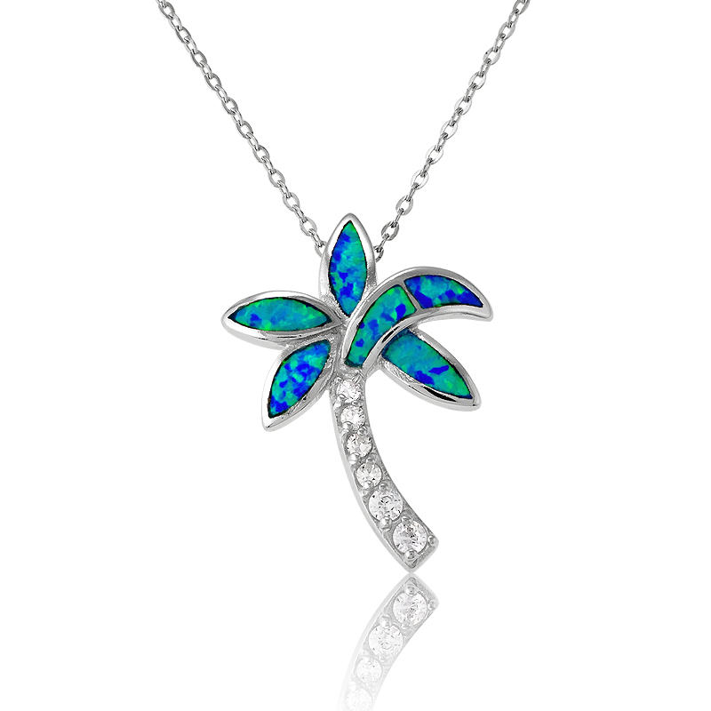 Beaux Bijoux Sterling Silver Created Blue Opal Birds Circle Pendant with 18 Chain