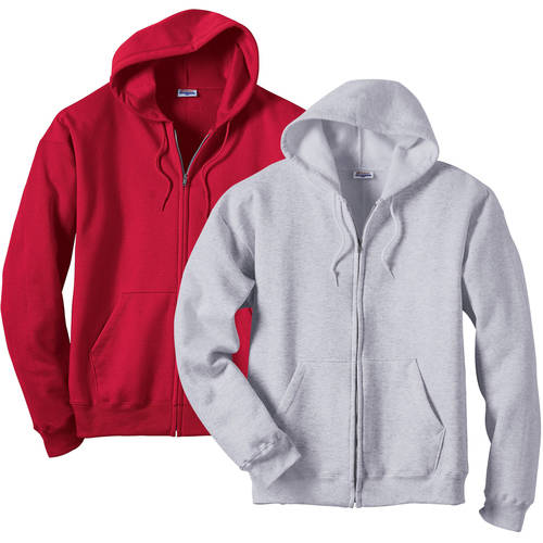 Hanes Men's ComfortBlend EcoSmart Fleece Full Zip Hood, 2 Pack