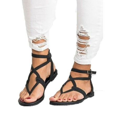 Womens Summer Boho Flip Flops Sandal Cross T Strap Thong Flat Casual Shoes Size