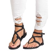 Womens Summer Boho Flip Flops Sandal Cross T Strap Thong Flat Casual Shoes Size