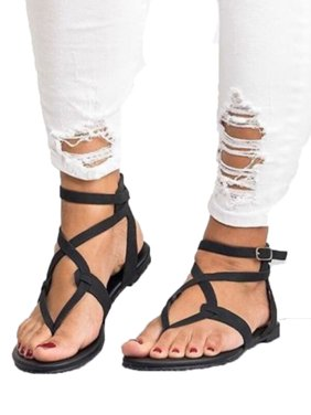 4b295701e Product Image Womens Summer Boho Flip Flops Sandal Cross T Strap Thong Flat  Casual Shoes Size