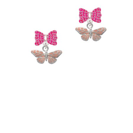 Small Pink Butterfly Hot Pink Bella Bow Crystal Earrings