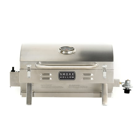 Smoke Hollow PT300B Propane Tabletop Grill The Smoke Hollow Propane Tabletop Grill is built for BBQ-grillers on the go and perfect for camping, tailgating, picnics, or any outdoor use. The compact design with locking lid, folding legs, and a large front carry handle makes this grill very portable and easy to transport or store. The grill operates on small, disposable, one-pound propane cylinders (not included), which are available nationwide as a common camping accessory item. The long-lasting stainless steel construction allows you to experience outdoor cooking wherever you enjoy it most.