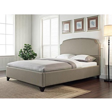 maison california king upholstered bed pebble stone