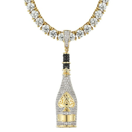 Ace Of Spades Champagne Bottle Pendant Gold Finish 24 Inch Chain Simulated Diamonds