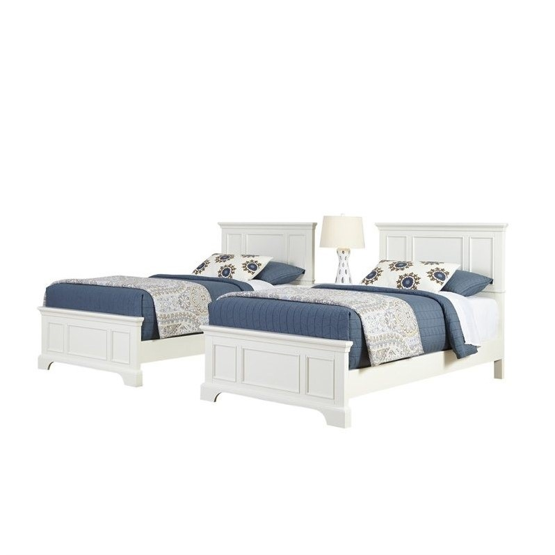 Home Styles Naples Two Twin Beds 3 Piece Bedroom Set in White - image 2 de 3