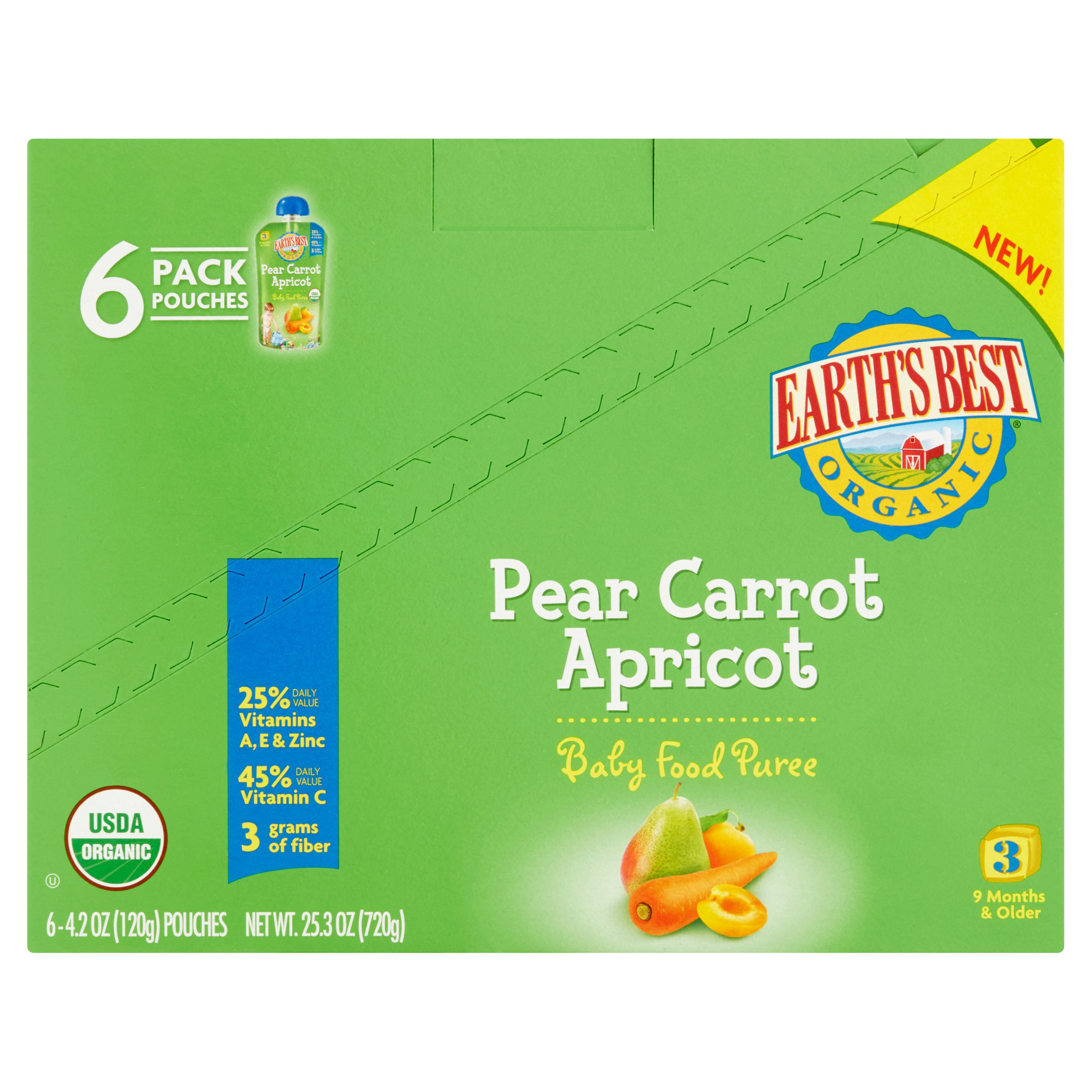 Earth's Best Organic Baby Food Pear Carrot Apricot Puree 3 9 Months & Older, 4.2 oz, 6 Pack