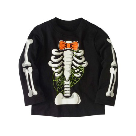 Toddler Boys Long Sleeve Black Skeleton Spider Web Halloween T-Shirt](Toddler Boy Halloween T Shirts)