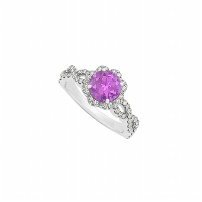 Fine Jewelry Vault UBNR50870W14CZAM Amethyst With CZ April Birthstone in Criss Cross Shank Halo Engagement Ring in 14K white gold, 4 Stones