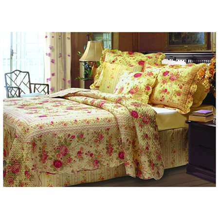 Greenland Antique Rose Quilt & ShamBonus Set, 4-Piece  Twin