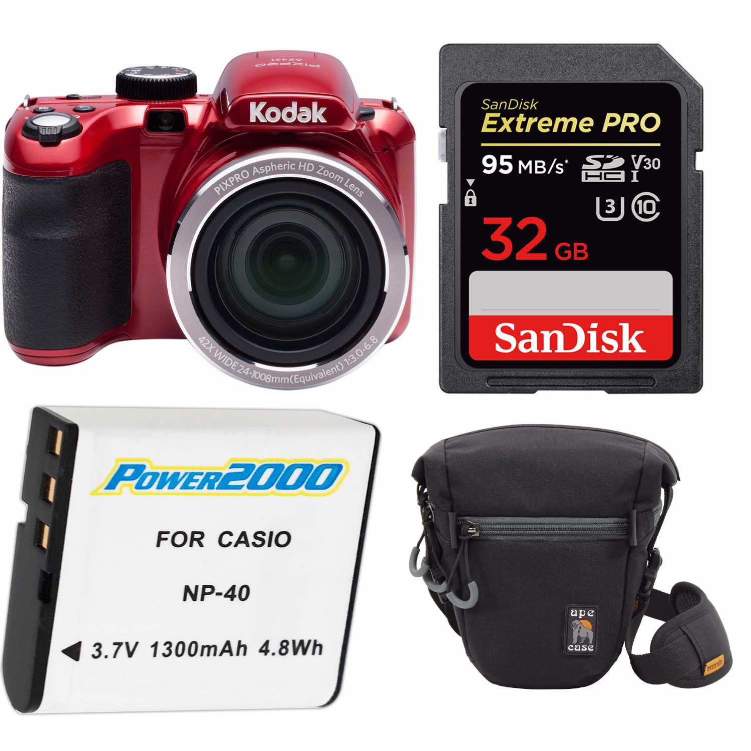 KODAK PIXPRO AZ421 16MP Digital Camera(Red) with Holster Case and 32GB SD Bundle