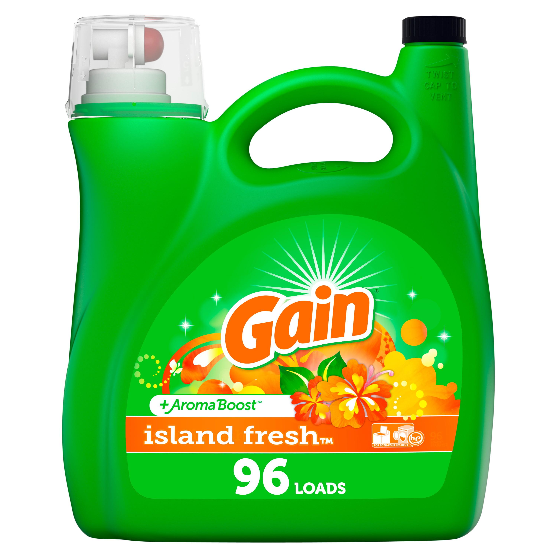 Gain Island Fresh HE, 96 Loads Liquid Laundry Detergent, 150 Fl Oz