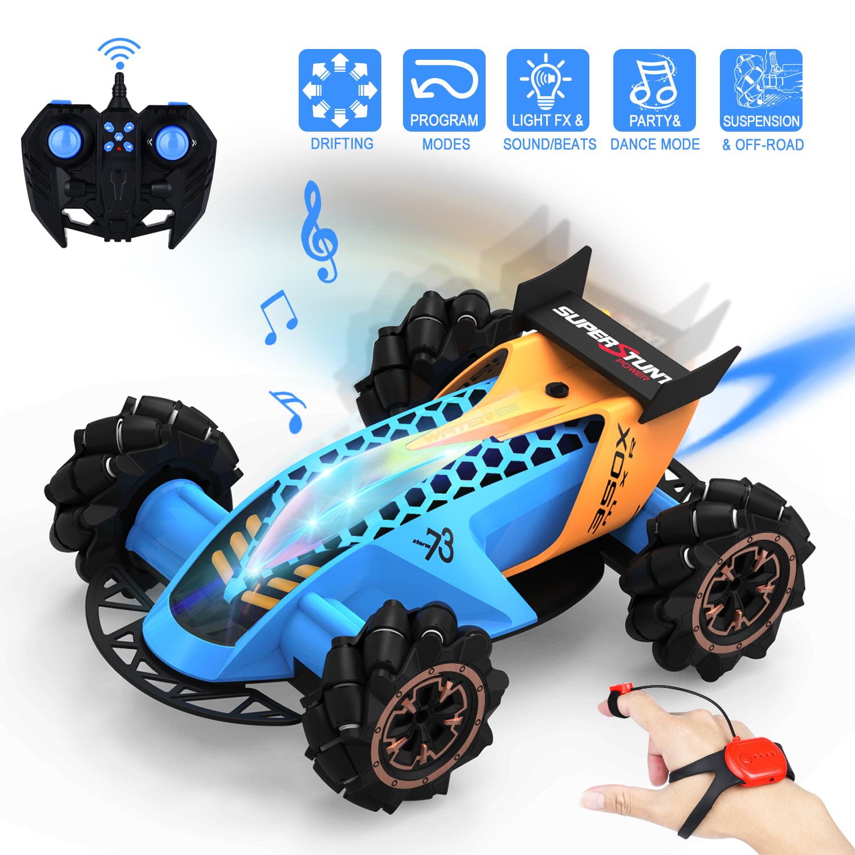2.4G 4WD RC Stunt Car w// Light 360° Flip High Speed Drift Off Road Cars Toys Kid