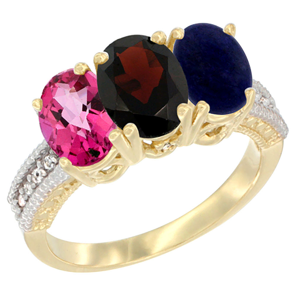 14K Yellow Gold Natural Pink Topaz, Garnet & Lapis Ring 3-Stone 7x5 mm Oval Diamond Accent, sizes 5 10 by WorldJewels