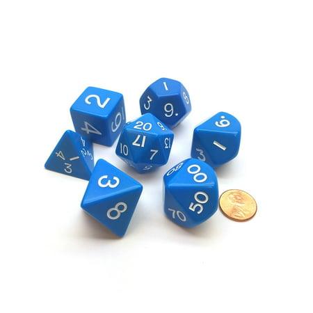 Blue Gem Dice (Koplow Games Jumbo Polyhedral 7-Die Games Dice Set 23mm-28mm - Blue with White Numbers #05856 )