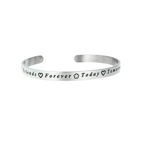 Friends Forever Today Tomorrow Always Adjustable Cuff Bracelet Wristband Bangle