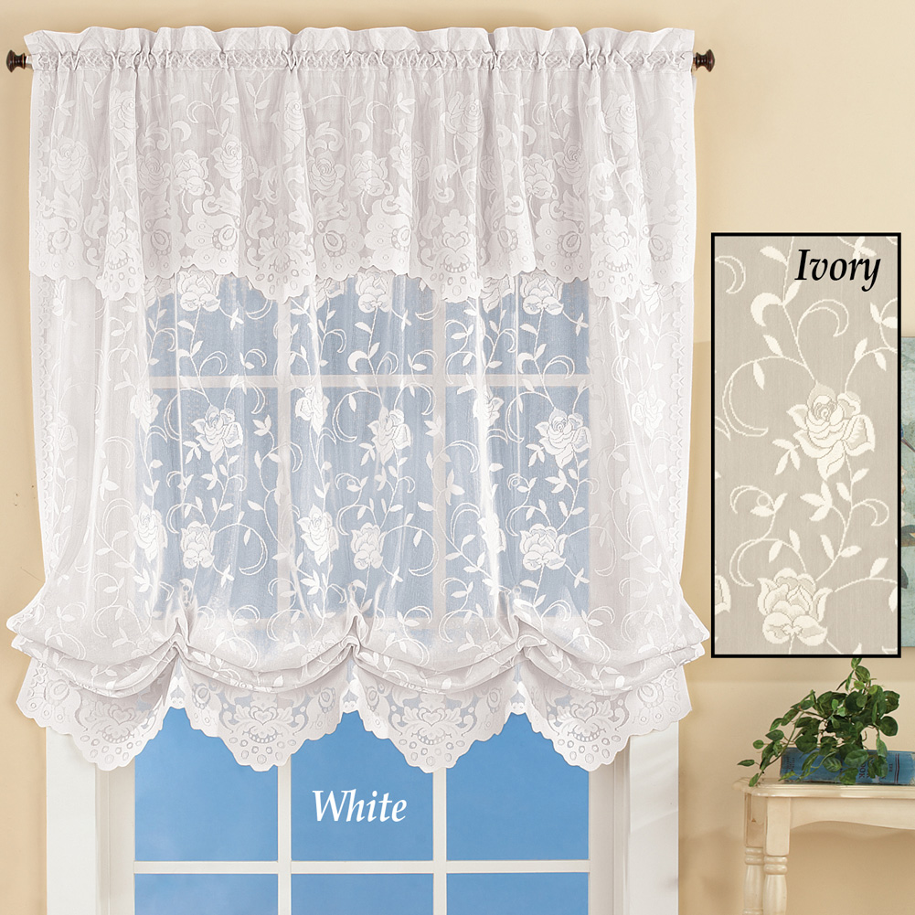 Floral Sheer Lace Tie-up Balloon Shade Window Curtain