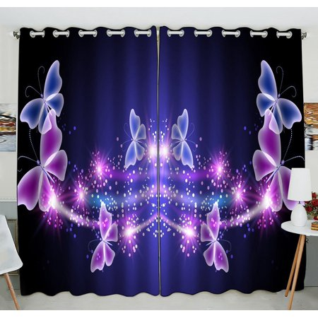 GCKG Pink Purple Butterfly Shining Light Under Blue Sky Window Curtain Kitchen Curtain Window Drapes Panel for Living Room Bedroom Size 52(W) x 84(H) inches (Two Piece)