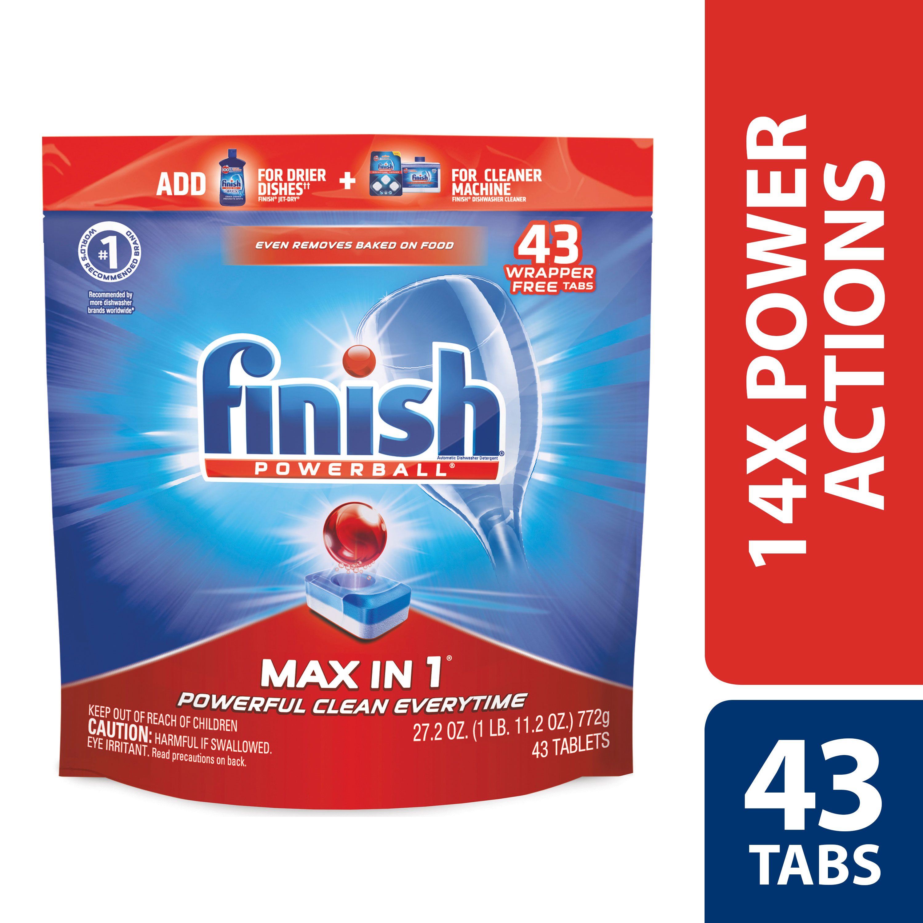 Finish Max in 1 Powerball, 43ct, Wrapper Free Dishwasher Detergent Tablets
