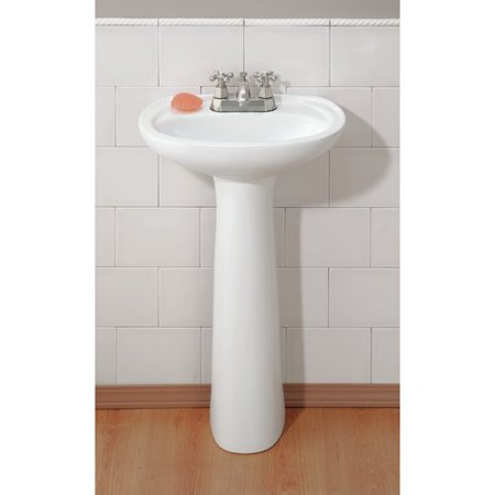 Fiore Pedestal - Cheviot Products Fiore Vitreous China 21'' Pedestal Bathroom Sink with Overflow