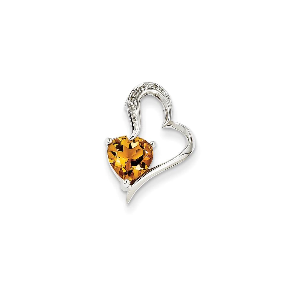 14k White Gold Prong Set Diamond and Citrine Heart Pendant. Gem Wt- 0.8ct