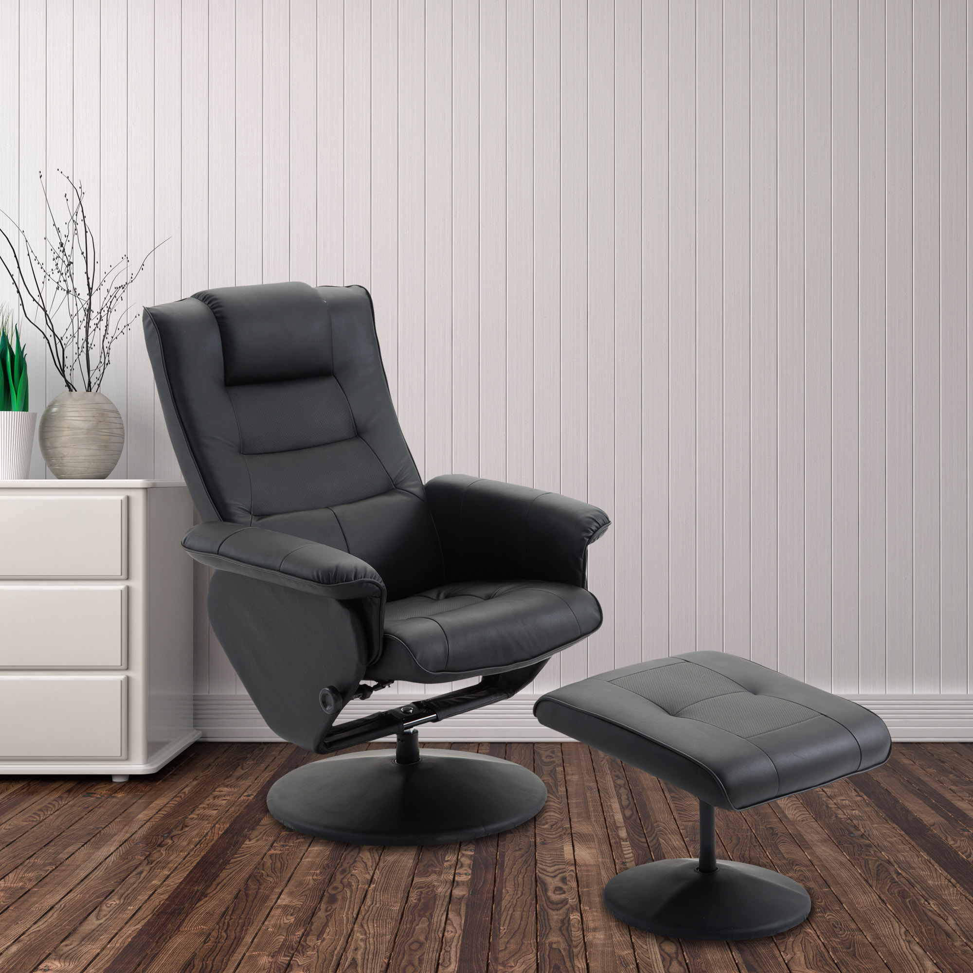 Cloud Mountain PU Leather Recliner Chair and Ottoman Leisure
