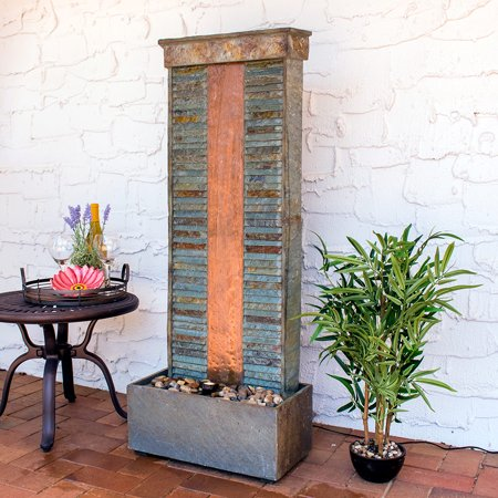 Natural Slate Water Fountain - Sunnydaze Rippled Slate Indoor/Outdoor Water Fountain with Copper Accents and LED Spotlight, 48 Inch Tall