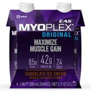 EAS Myoplex Original Ready-To-Drink Protein Shake, 42g High-Quality Protein, Chocolate Ice Cream, 16.9 oz, 4-count packs