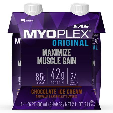 (EAS Myoplex Original Ready-To-Drink Protein Shake, 42g High-Quality Protein, Chocolate Ice Cream, 16.9 oz, 4-count packs)