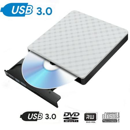 USB 3.0 External CD DVD Drive, USB 3.0 CD DVD +/-RW Writer Rewriter Burner ROM Combo Drive, High Speed Data Transfer, Slim Portable for Notebook Laptop Desktop PC Windows Vista/7/XP/10/MAC (Cd Drive Not Working In Windows 7)