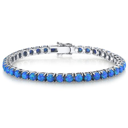 Blue Tourmaline - Sterling Silver 925 Blue Created Simulated Opal Eternity Tennis Bracelet, 7.5 TCW 4mm 7.25