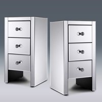 Jaxpety Set of 2 Silver Mirrored 3-Drawer Crystal Accent Table Nightstand Side Table