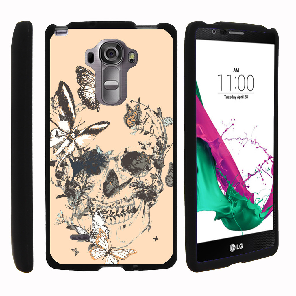 LG G Vista 2 H740, [SNAP SHELL][Matte Black] 2 Piece Snap On Rubberized Hard Plastic Cell Phone Case with Exclusive Art - Butterfly Skull