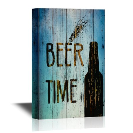 wall26 Canvas Wall Art - Bottle of Beer on Vintage Style Wood Background - Gallery Wrap Modern Home Decor | Ready to Hang - 32x48