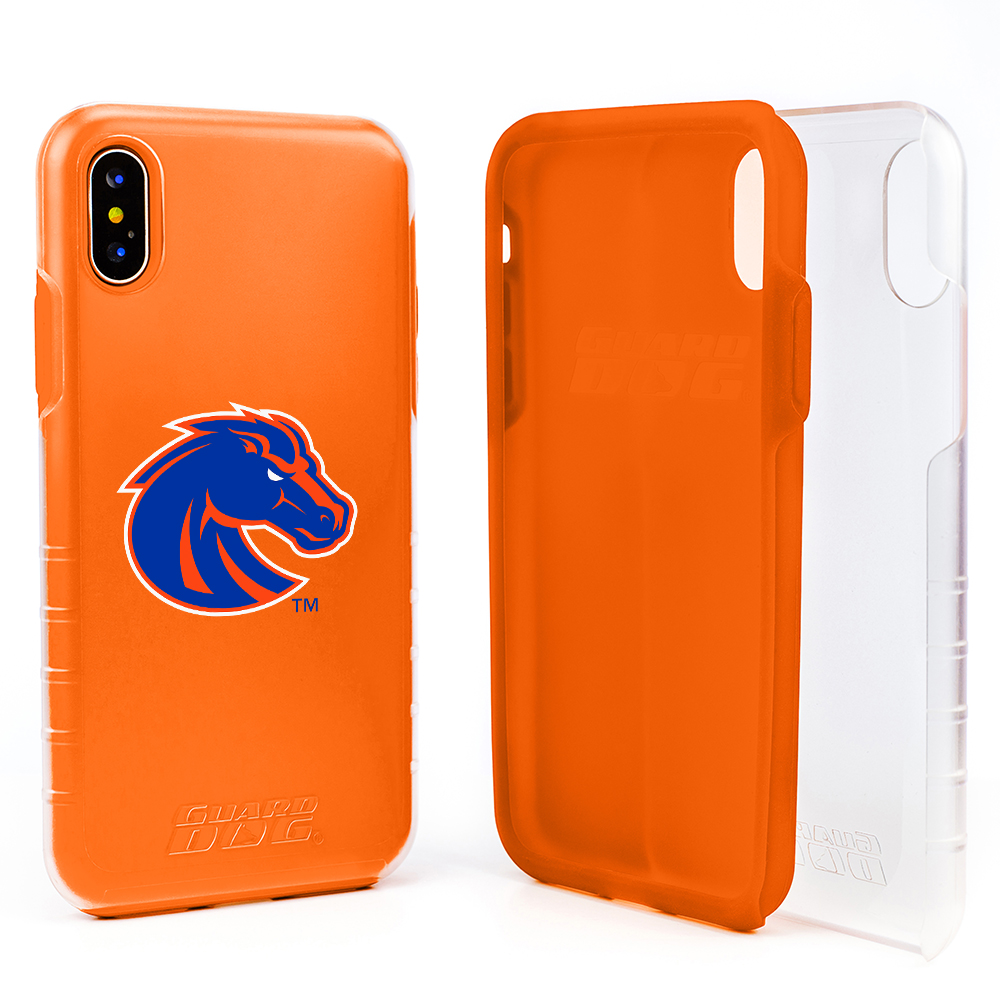 Boise State Broncos Clear Hybrid Case for iPhone X / Xs with Guard Glass Screen Protector - Clear with Orange
