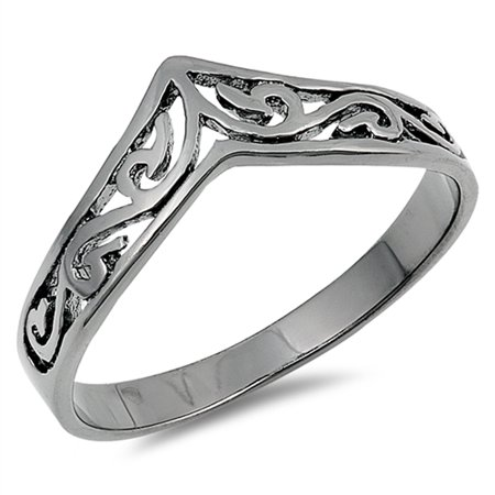 CHOOSE YOUR COLOR Filigree Celtic Black-Tone Thumb Ring New .925 Sterling Silver Band