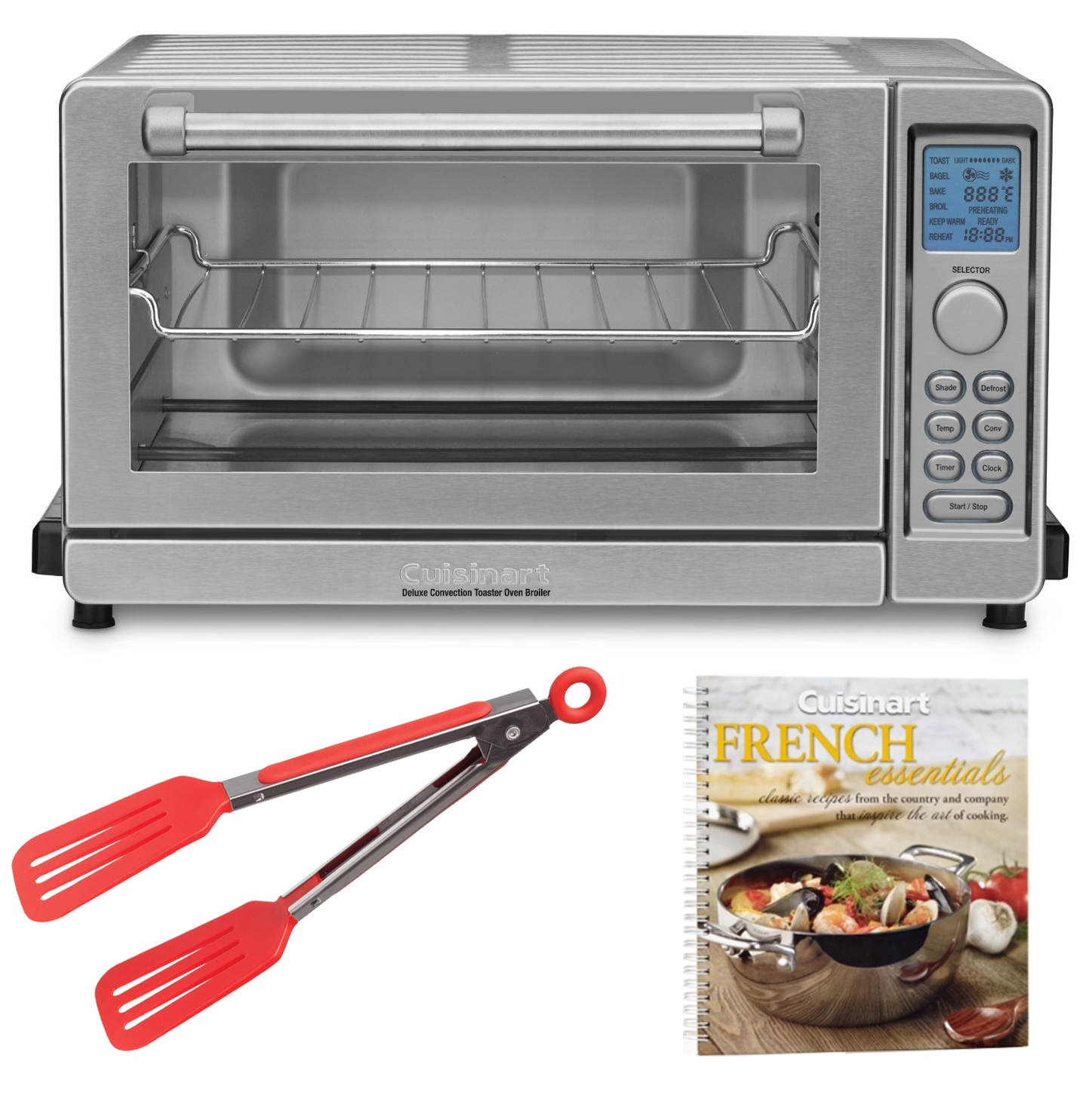 Cuisinart TOB-135 Deluxe Convection Toaster Oven Broiler + Cookbook + 8-inch Nylon Flipper Tongs (Refurbished)