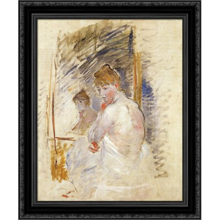 Getting out of Bed 20x24 Black Ornate Wood Framed Canvas Art by Morisot,