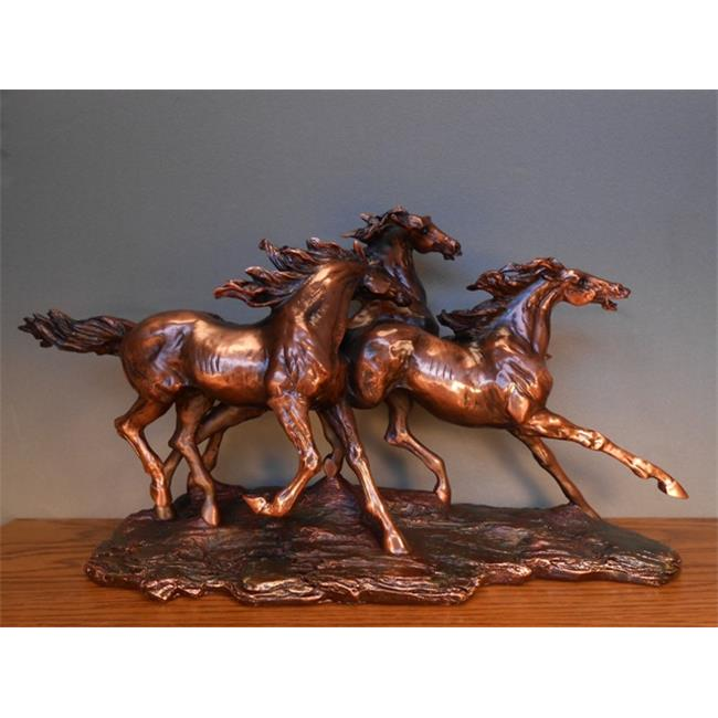 Marian Imports F13101 Three Horses Galloping Bronze Plated Resin Sculpture by Marian Imports